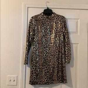 Leopard sequin mini dress